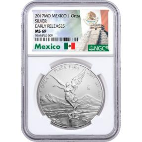 現貨 - 2017墨西哥-女神-1盎司銀幣-NGC MS69鑑定幣-Early Releases版(墨西哥標籤)