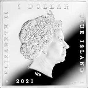 預購(即將到貨) - 2021紐埃-世界寶藏系列-鳶尾花-1盎司銀幣