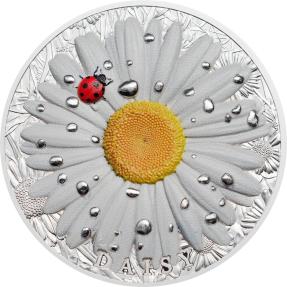 現貨 - 2018帛琉-高浮雕花和葉子系列-雛菊-2盎司銀幣