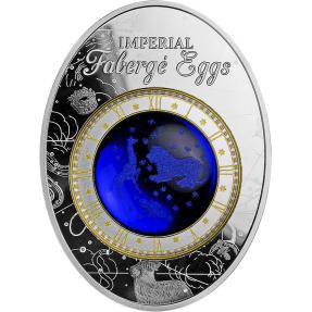 現貨 - 2018紐埃-法貝熱彩蛋系列-藍色阿列克謝星座彩蛋-56.56克銀幣