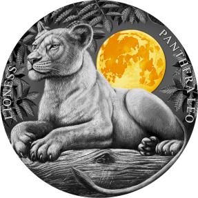 現貨 - 2021紐埃-月光下野生動物系列-母獅-2盎司銀幣