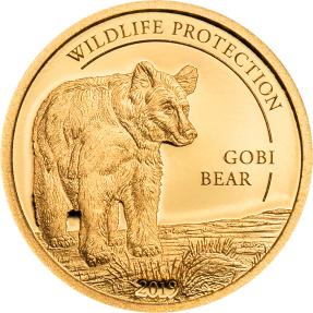 現貨 - 2019蒙古-野生動物保護系列-蒙古戈壁熊-0.5克金幣
